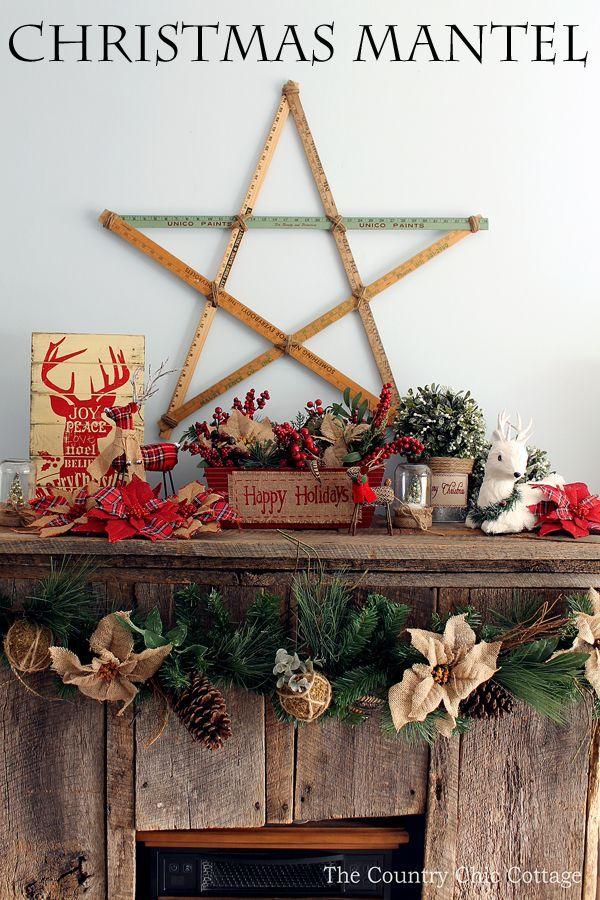 Loving These Rustic Christmas Mantel Decorating Ideas Mason Jars Burlap And Barnwoodmy Favorite Combination Ad AtHomeforChristmas AtHomeFinds