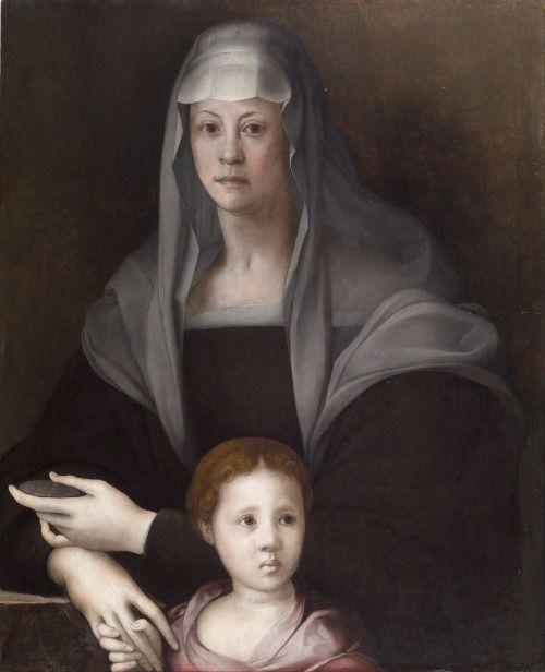 "koredzas: ""Pontormo - Portrait of Maria Salviati de' Medici with Giulia de' Medici. 1539 """