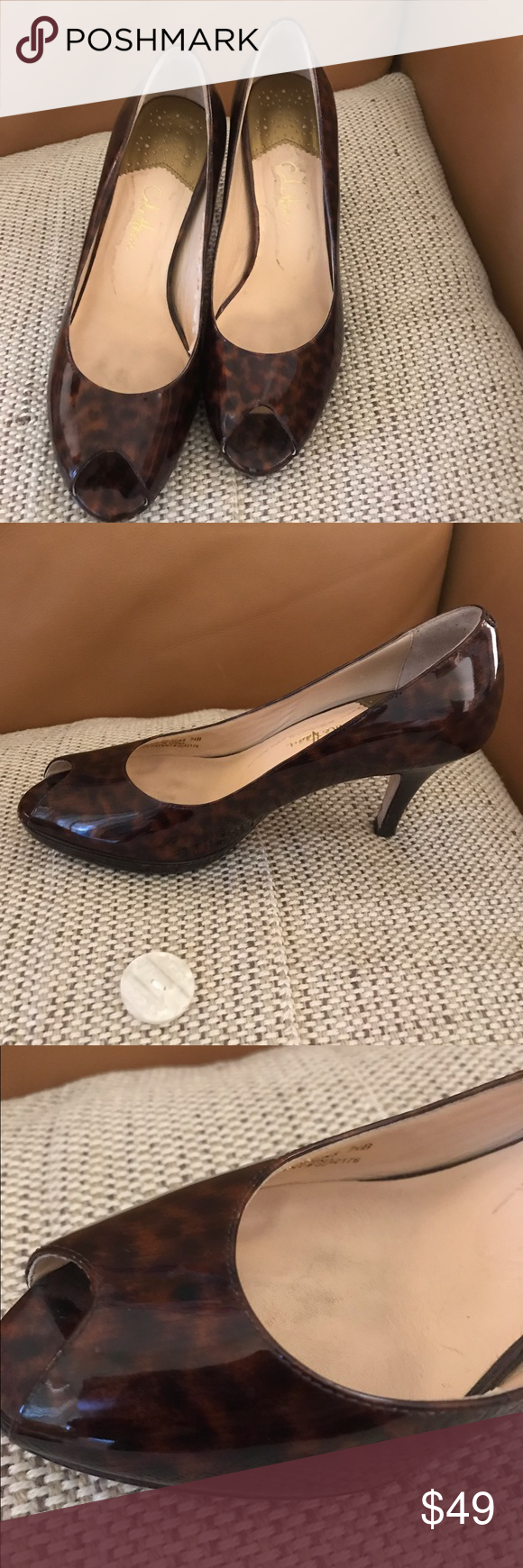 """Cole Haan Nike Air  pumps shoes 7.5 3.5"""" heel Gold detail on heel.  Pumps in excellent condition.  Worm twice. Cole Haan Shoes Heels"""