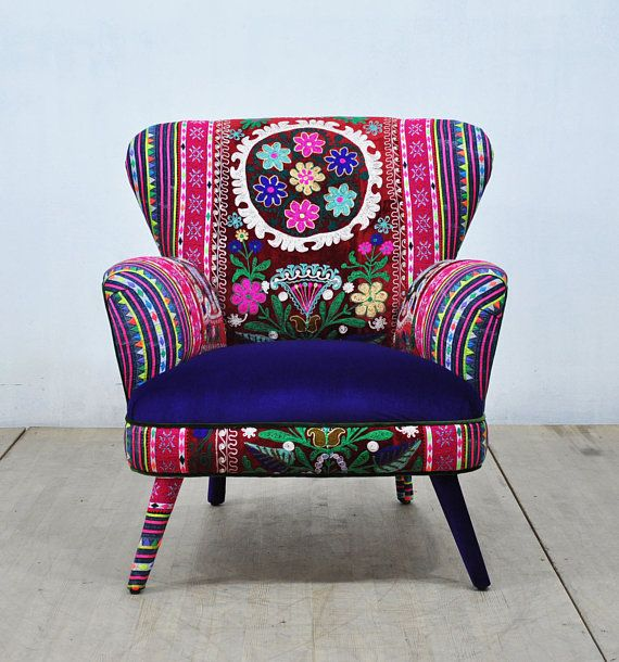Deep Accent Cheap Chair: Suzani Armchair Deep Blue