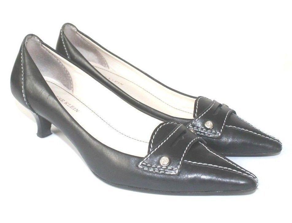 7820131b5b47 AK Anne Klein Iflex Black Pointed Toe Kitten Heel Leather Loafer Shoes Size  6M  AnneKlein  KittenHeels  Work