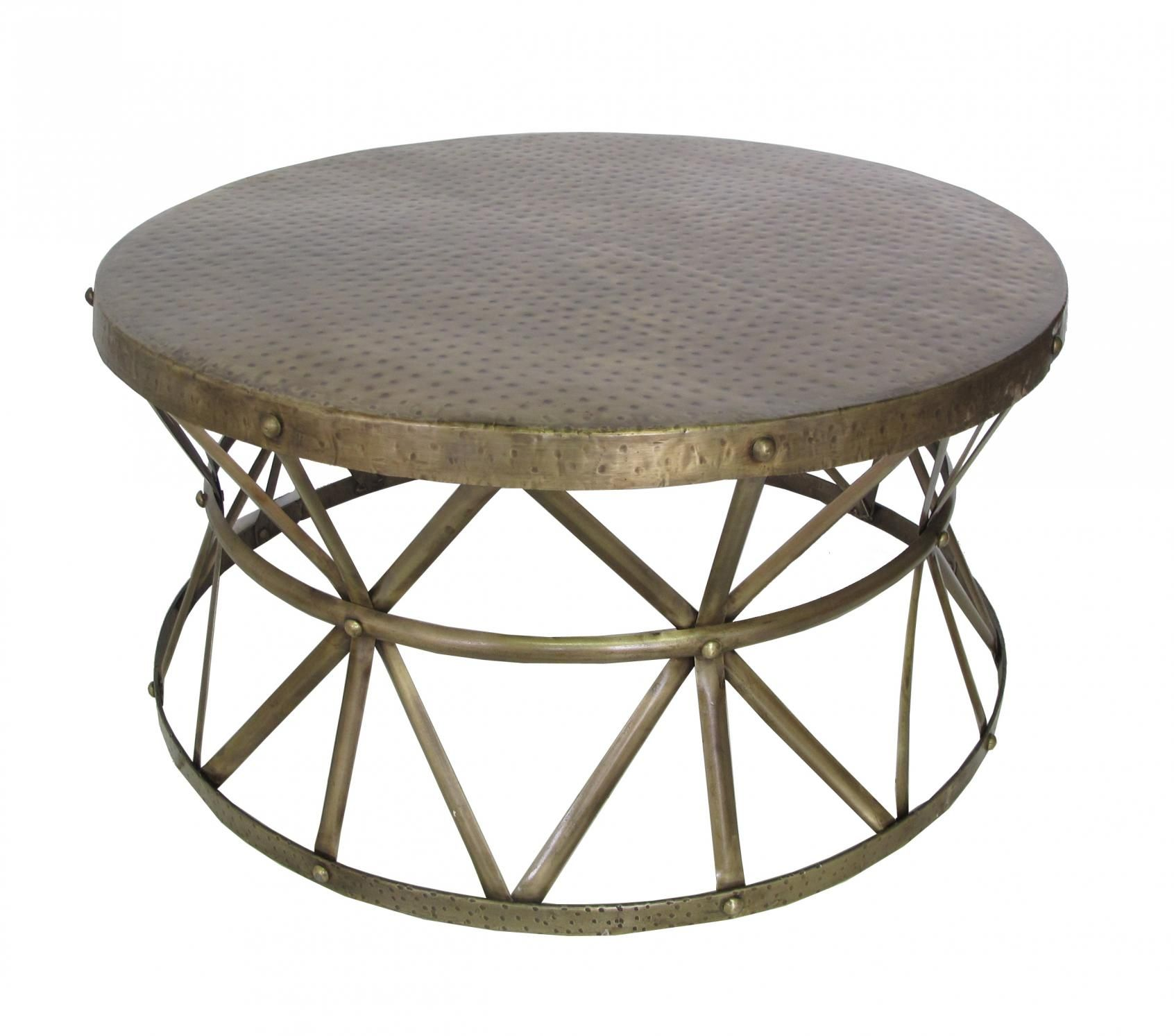 Metal Smith s Drum Coffee Table Antique Finish 225