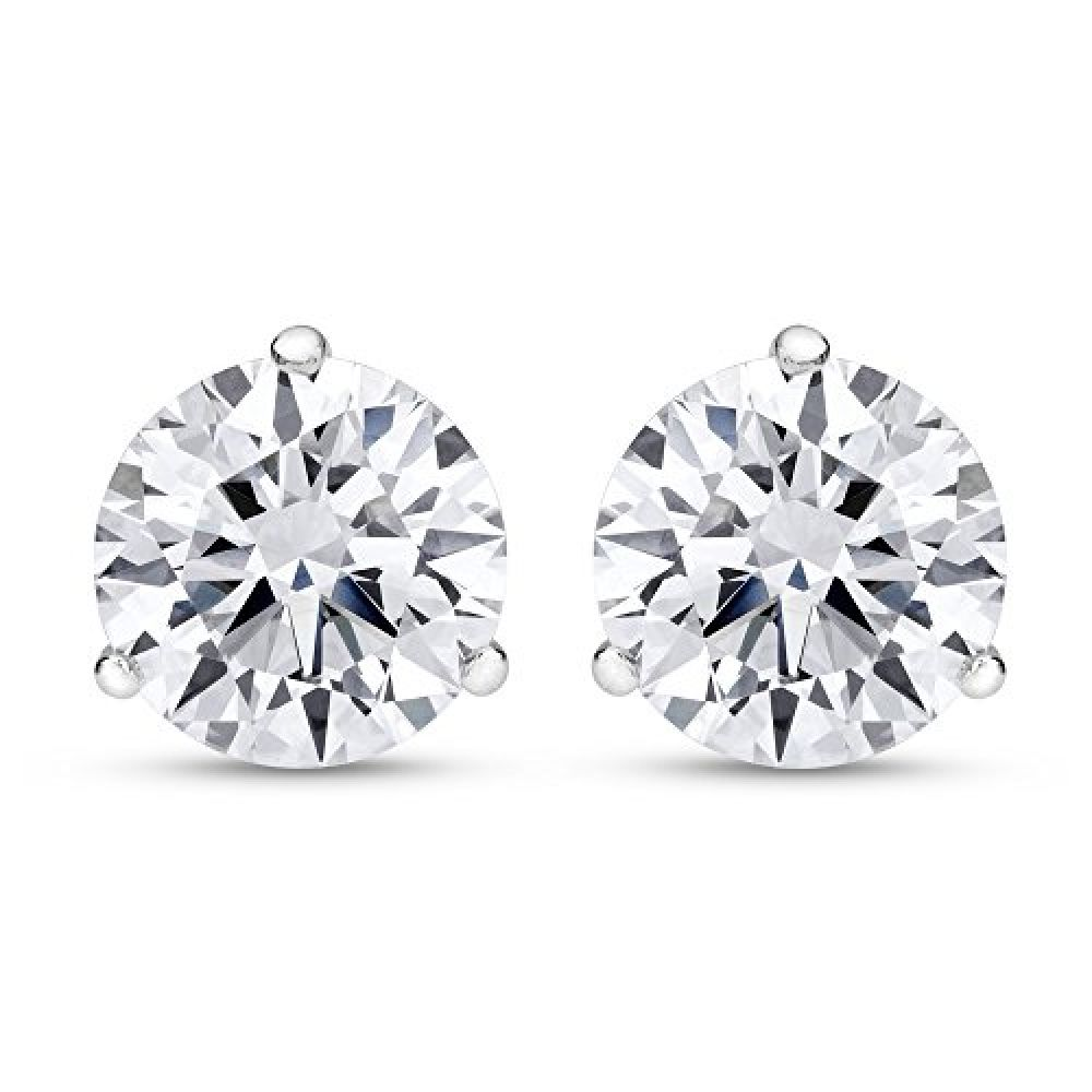 2 Carat Total Weight White Round Diamond Solitaire Stud Earrings Pair Set In 14k White Gold 3 Prong Push Back I J Color I2 Clarity Best Watches In 2020 Diamond Solitaire