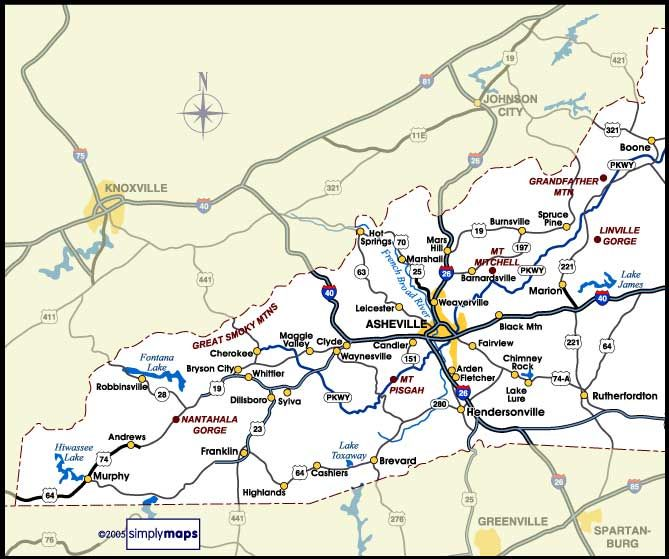 Map Of Nc Mountains Western NC Rentals Map Vacation Rental - Map of nc
