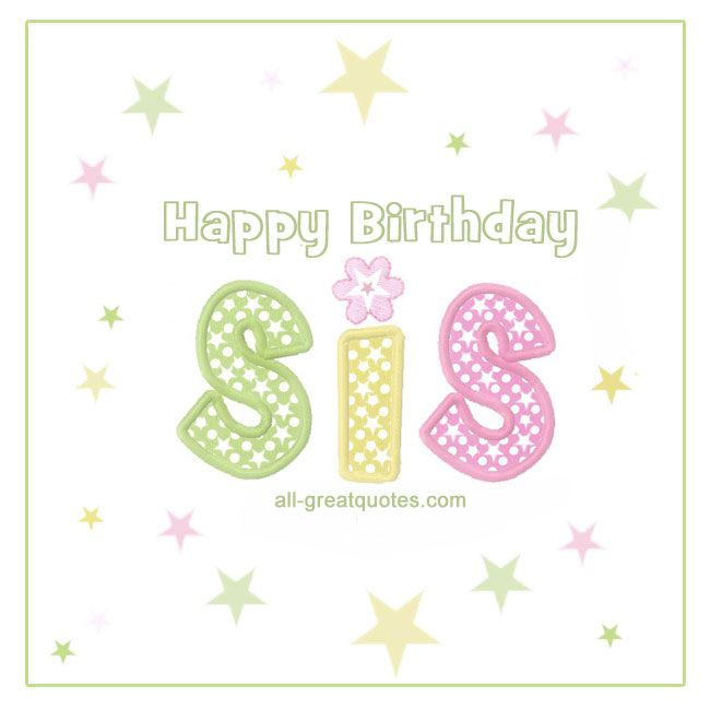 Free Birthday Cards For Sister Happy Birthday Pinterest Free