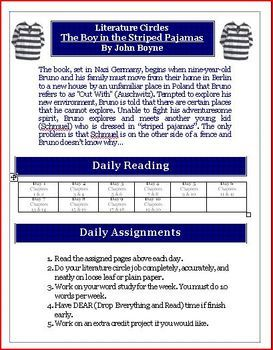 The boy in the striped pajamas literature circle novel activity the boy in the striped pajamas literature circle novel activity ccuart Image collections