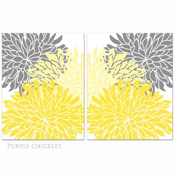 Yellow and Gray Dahlia Flower Bursts Botanical Wall Art 8\