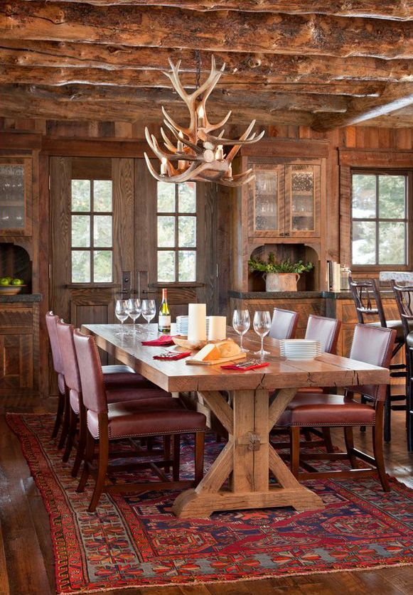 Pearson Design Group | Cabin Dining Room | Ranch Log Cabin Homes ...