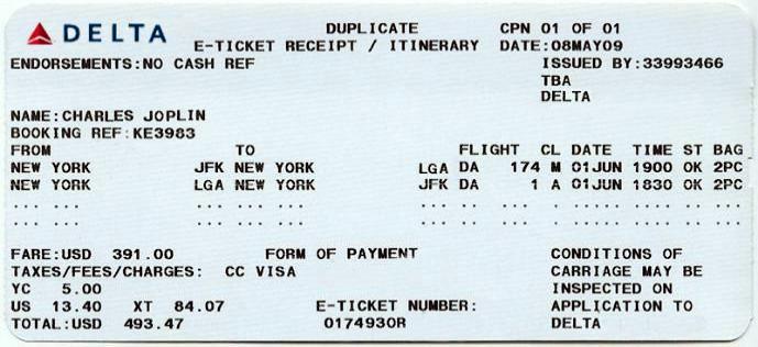 Cornrow Rider, Delta performance JFK to LGA, $49347 flight no174