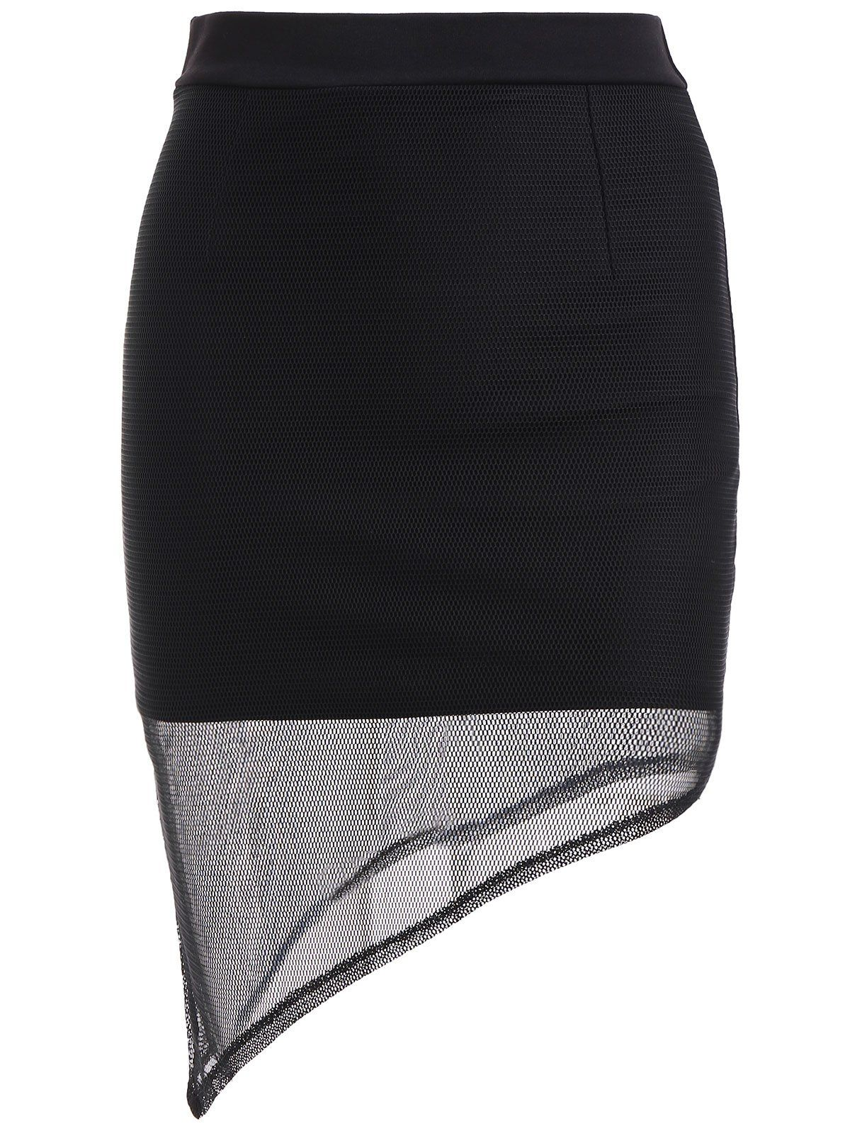 Trendy Asymmetrical Black Skinny Skirt For Women