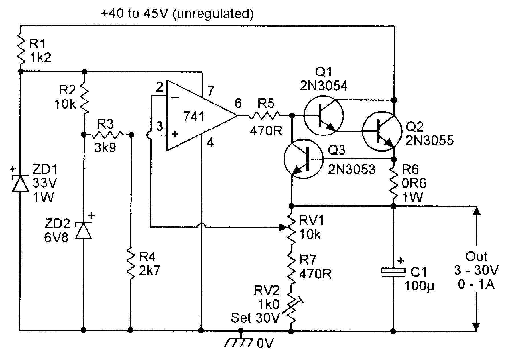 3v to 30v stabilized psu with overload protection