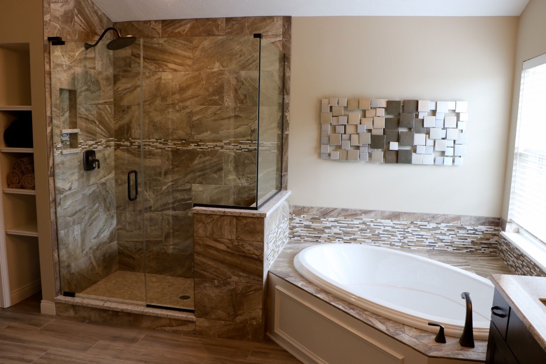 A beautiful bathroom remodel! Featuring an all new tiled shower, tub ...