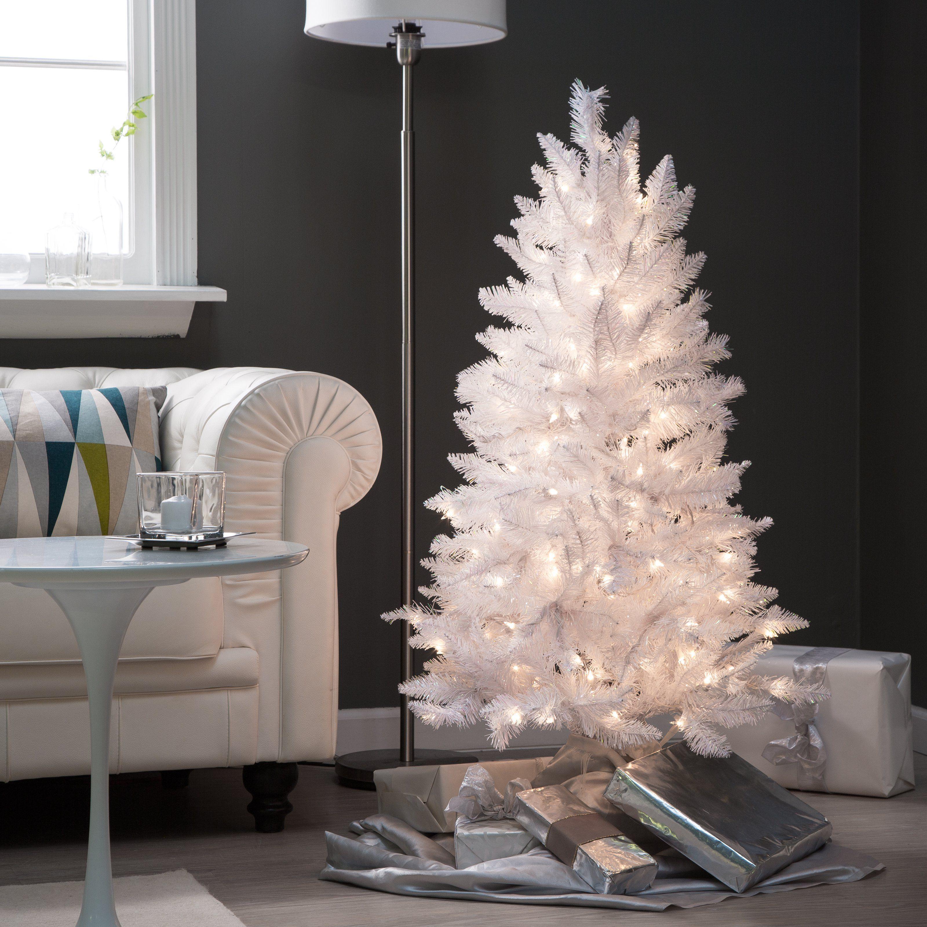 4 Ft White Tiffany Tinsel Pre Lit Christmas Tree By Sterling Tree Company Www White Christmas Tree Decorations White Christmas Trees Pre Lit Christmas Tree