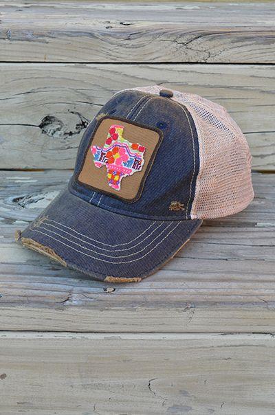 Denim Judith March Hat, distressed denim hat, colorful texas