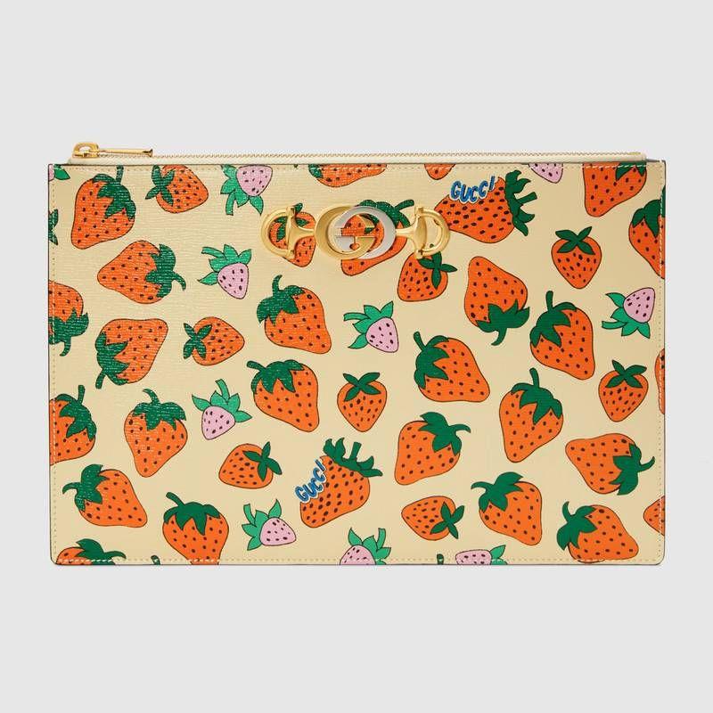 Gucci Zumi Strawberry print pouch