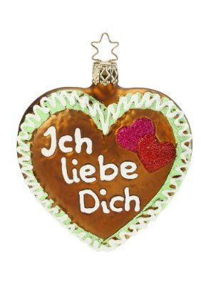 Inge Glas Ich Liebe Dich I Love You German Christmas Ornament 103413 FREE BOX