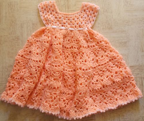 Lovely Shelled Girls Dress Free Pattern Crochet For Children