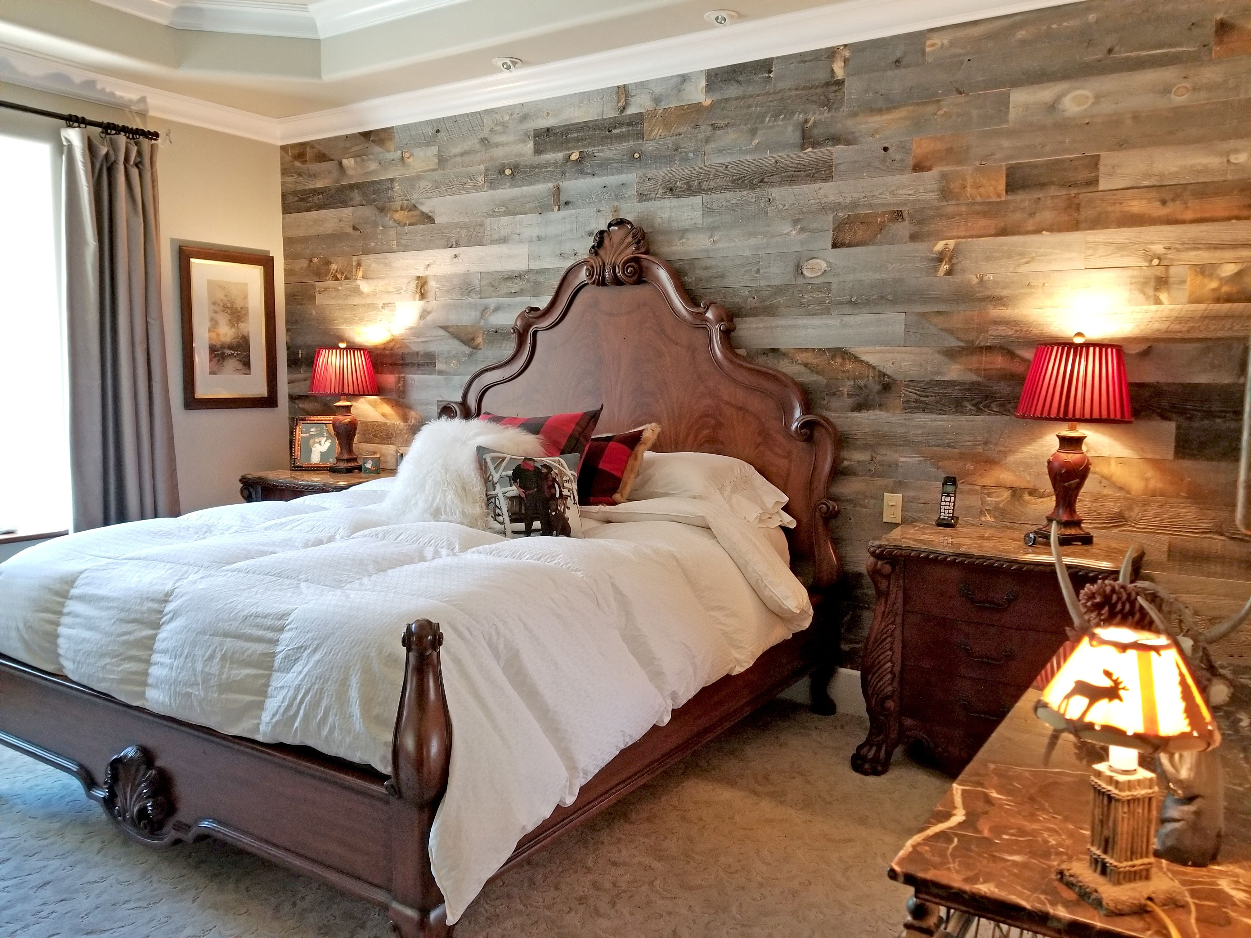 Reclaimed wood wall made with recycled Wyoming snow fence ...