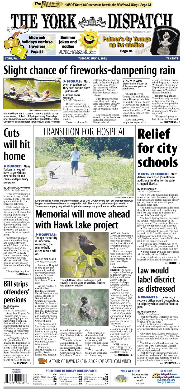 York Dispatch front page for July 3, 2012