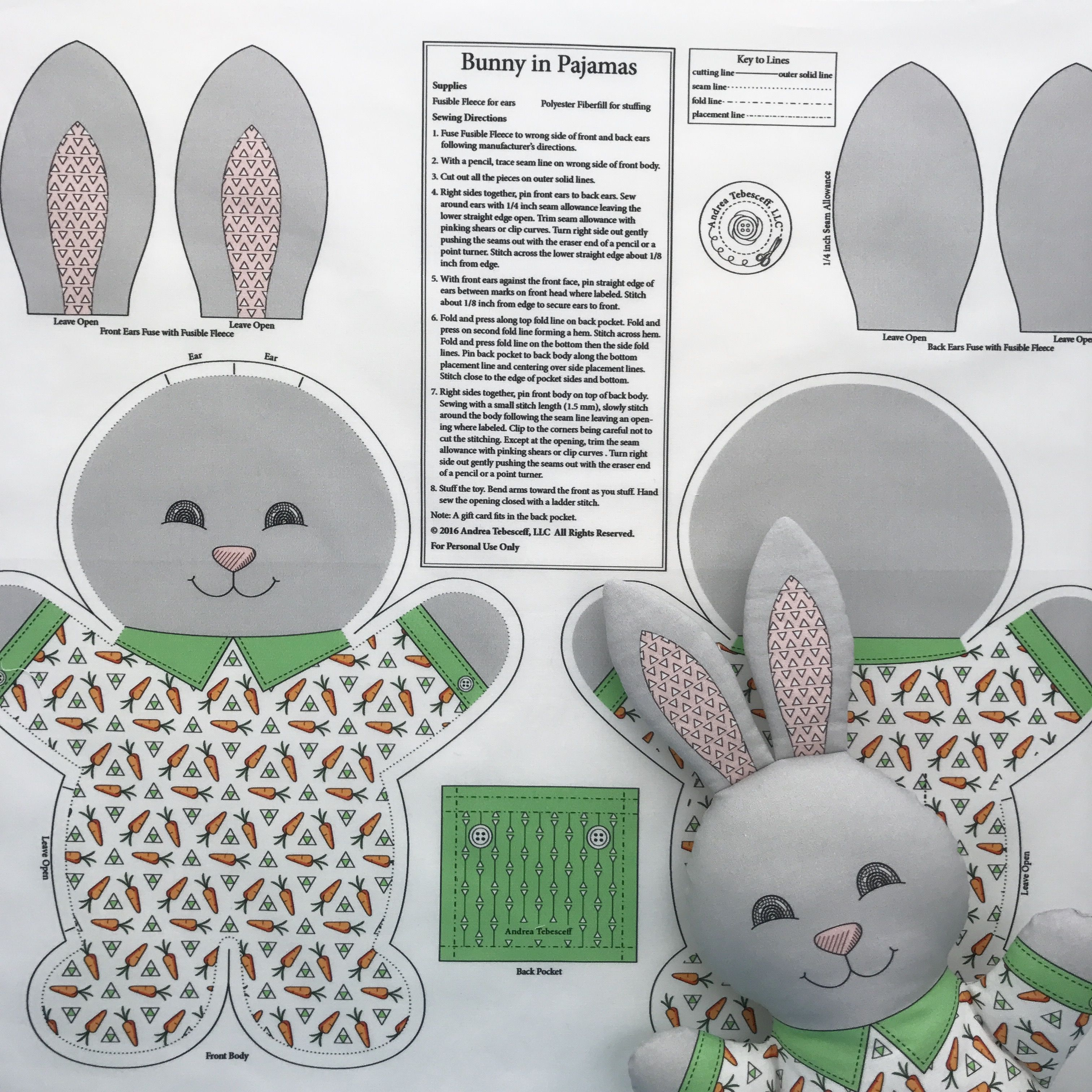 """""""Bunny in Pajamas"""" is the best-selling fabric in my Spoonflower shop. I always have my Cut and Sew fabric panels printed on Kona Cotton. This fabric makes wonderful soft toys. You cut and sew and stuff """"Bunny in Pajamas"""" following the directions. The finished toy will measure about 14 inches tall. All my Cut and Sew fabric panels are available in my Spoonflower shop. Link in Profile."""