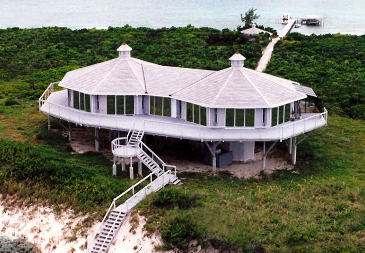 Imagine The Spectacular Views From This Beautiful Double Pedestal Ocean Front Secluded Topsider Home Loc Beach House Plans House On Stilts Beachfront House
