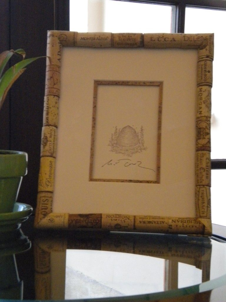 custom wine cork frame from the second artistt i love the idea of