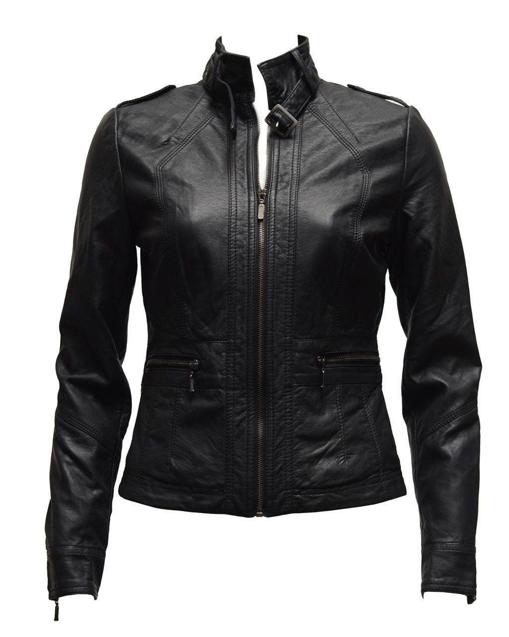41.00 Ladies Black Synthetic Leather Jacket