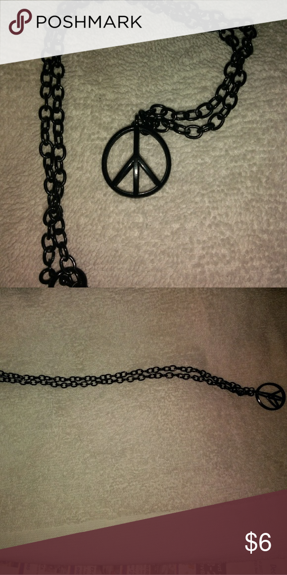 Black peace sign necklace 18 inch necklace with peace sign pendant black peace sign necklace audiocablefo