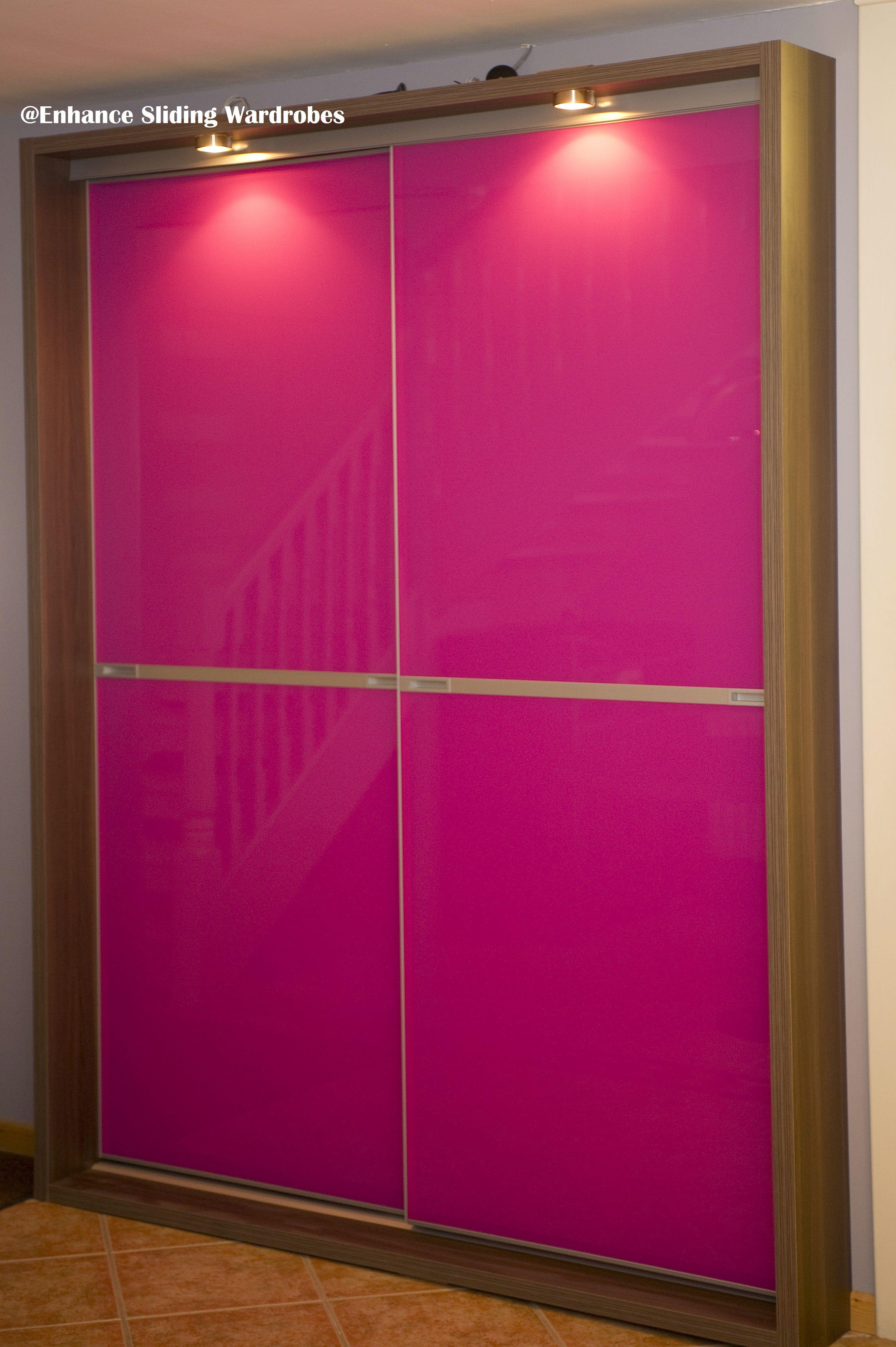 Pink Glass Sliding Wardrobe With Chrome Strap Bedroom Pink Wardrobe Designed By Enhance Sliding Wardrobe Sliding Wardrobe Designs Wardrobe Design Bedroom