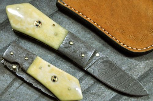 Custom Made Damascus Folding Knife Camel Bone Handle B514 | eBay