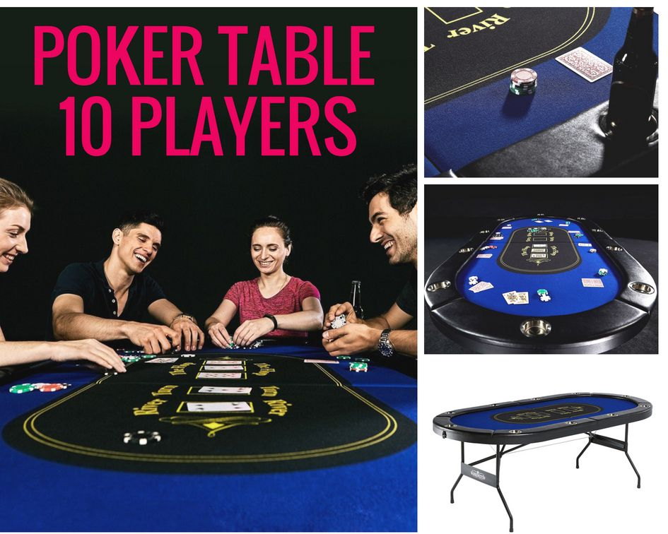 Poker Table For 10 Players Barrington Texas Holdem With Padded Rails Cup Holders 10 Players Game Poker Table Poker Table