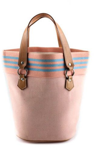 f4bcca03f BURBERRY LONDON BLUE LABEL Pink Canvas Silver Tone Bucket Tote Handbag  BC5411MHL