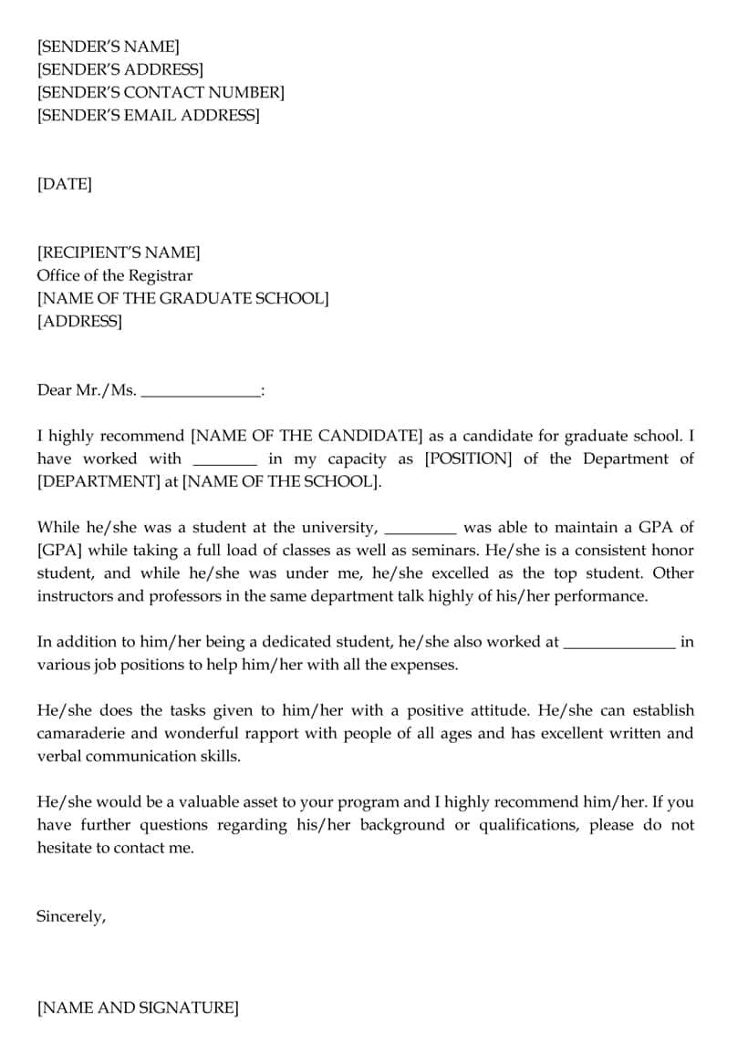 Graduate School Letter (Sample Letters And