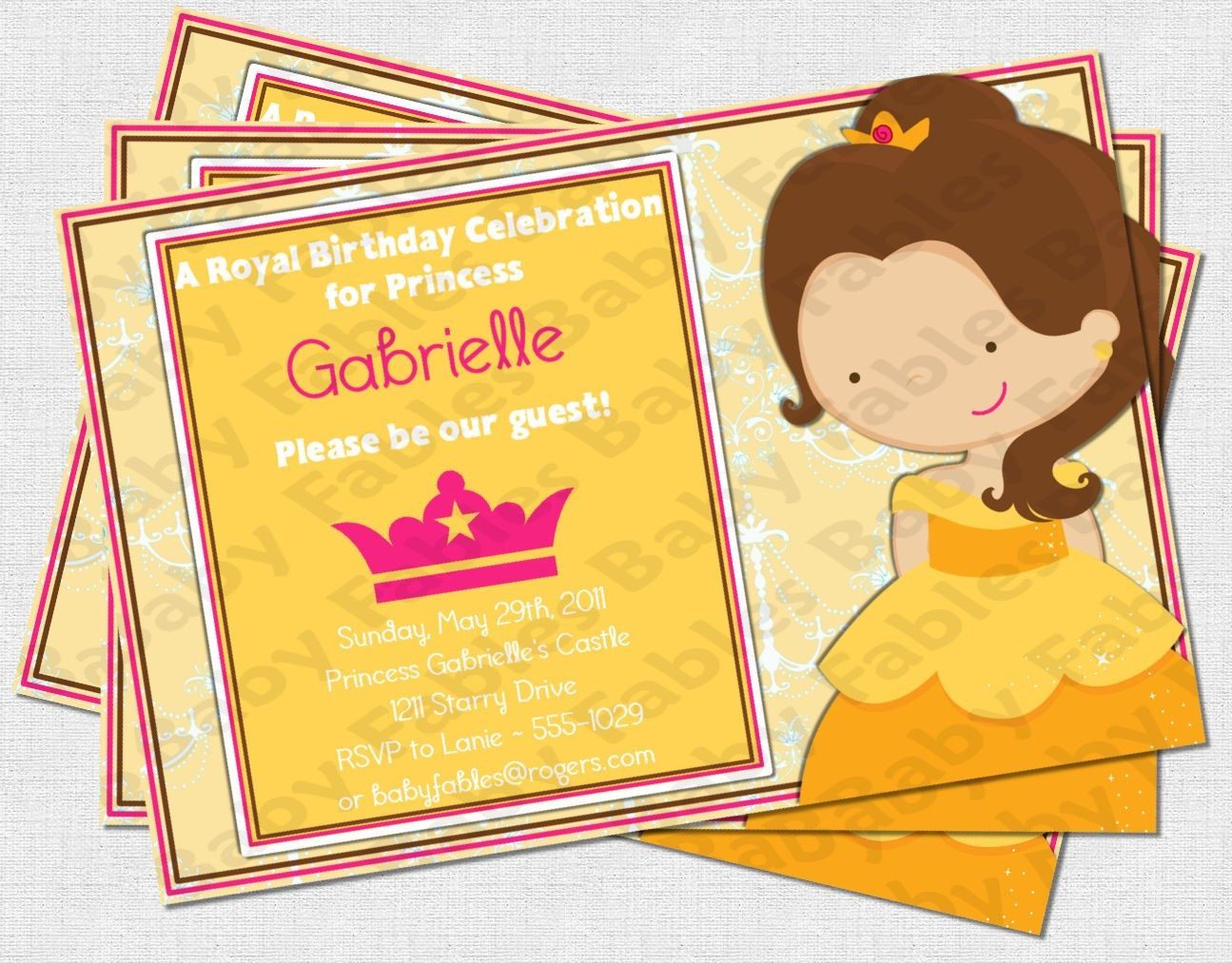 Princess Belle Birthday Party Invitation DIGITAL by babyfables ...