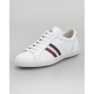 Monaco Low-Top Leather Sneaker, White - Moncler   I want IT ... 302ea3512a6