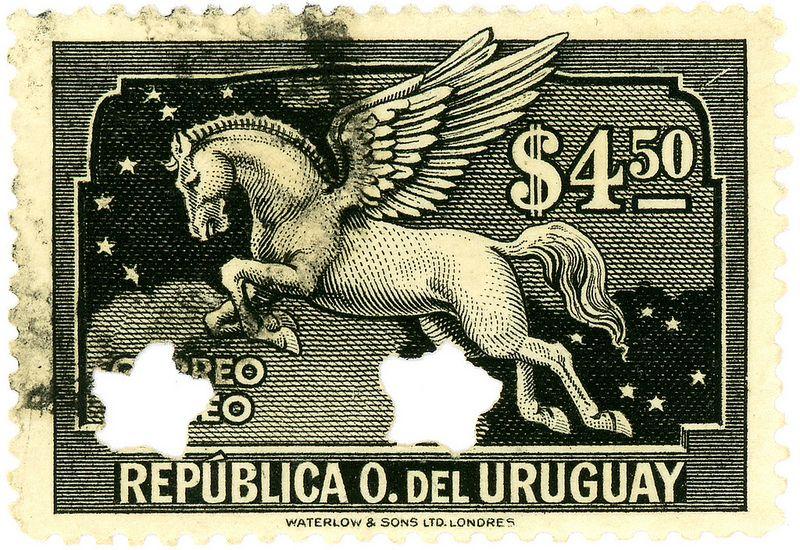 Uruguay postage stamp: Pegasus black