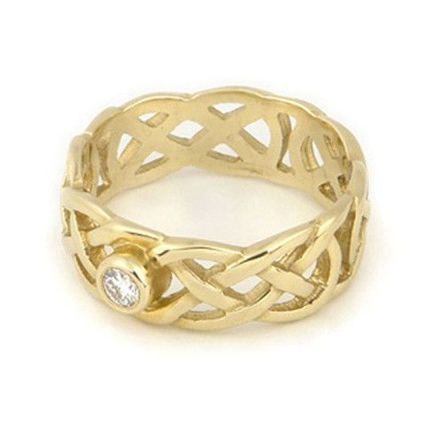 Celtic Diamond Engagement Ring, 9ct or 18ct Yellow or White