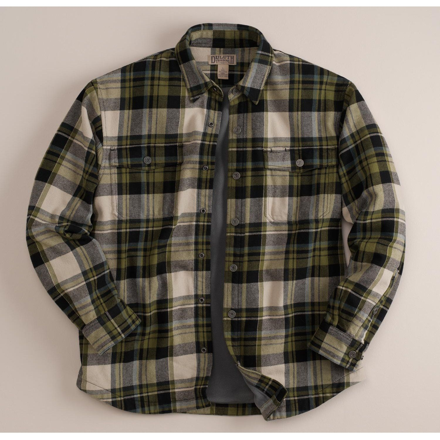 Green Black Plaid - Duluth Trading Co Men's Flapjack Fleece Lined ...
