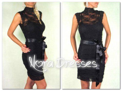 DANA Black - čipkované spoločenské šaty