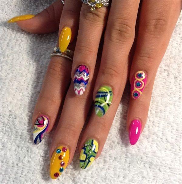 Day 230: Summer Brights Nail Art | Bright nail art, Bright nails and ...