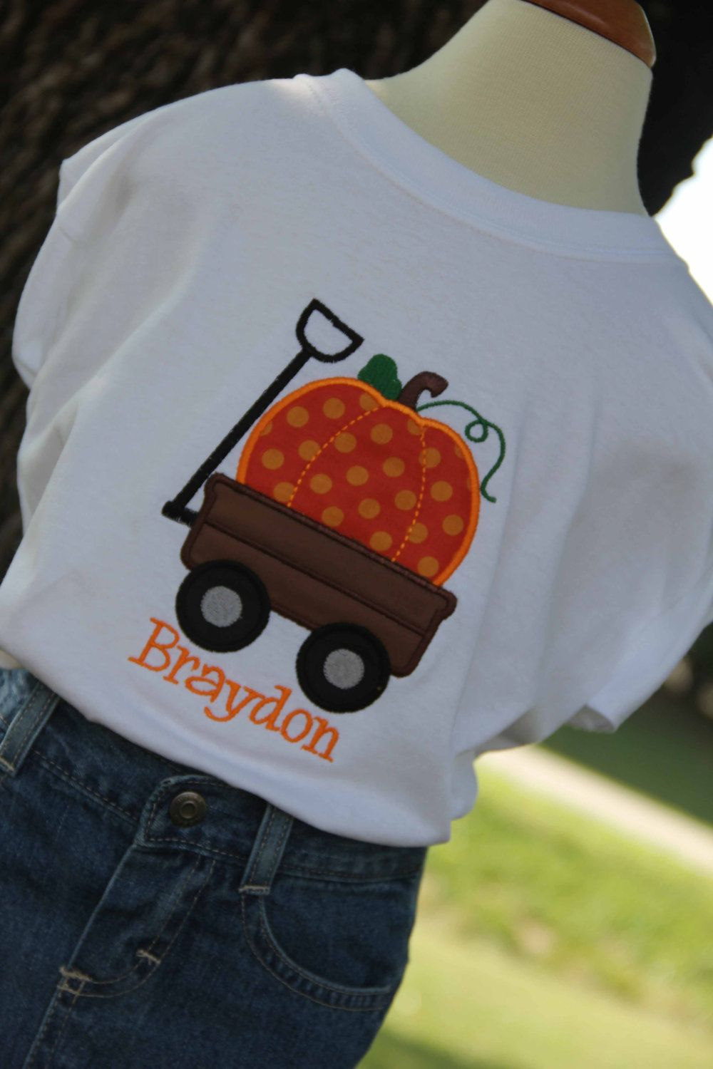 Boys Personalized Pumpkin and Wagon Fall Thanksgiving t ...