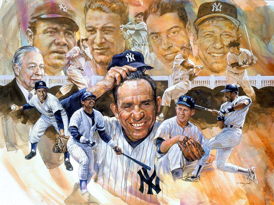 Yankee S Legends 30 X40 By Doug West Baseball Art Sports Art Yankees Baseball