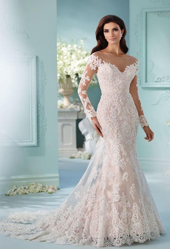 Stunning Tulle Off-the-shoulder Neckline Mermaid Wedding Dress ...