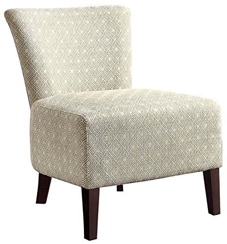 Homelegance 1222F1S Armless Accent Chair, Blue Pattern Over Cream Colored  Fabric