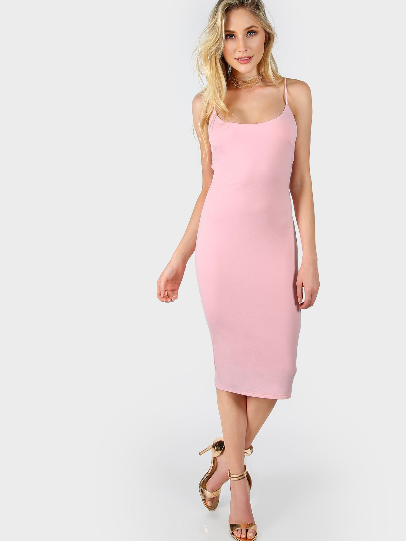 a63c31325e Pink Skinny Cami Dress -SheIn(Sheinside) | :: >> Just Landed ...