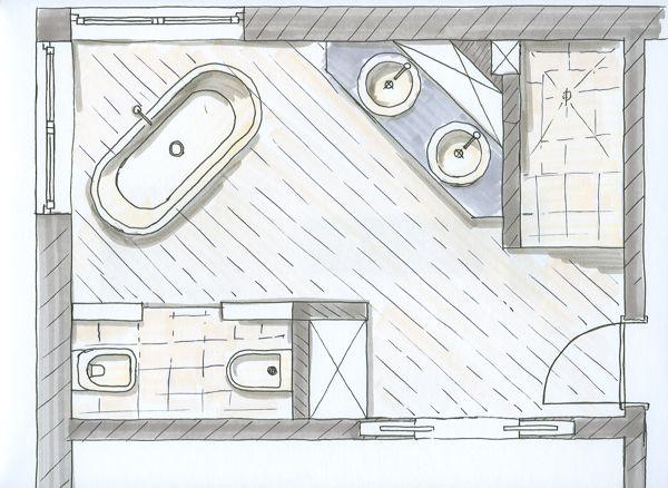 Grundriss bad mit eckfenster zuk nftige projekte for Badezimmer aufteilung beispiele