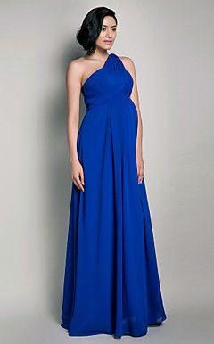 51f5e7f57ccf8 Sheath/Column One Shoulder Floor-length Chiffon #Maternity Evening #Dress
