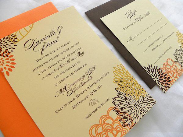 Modern Fl Wedding Invitation In Fall Colors Brown Orange Cornflour Yellow
