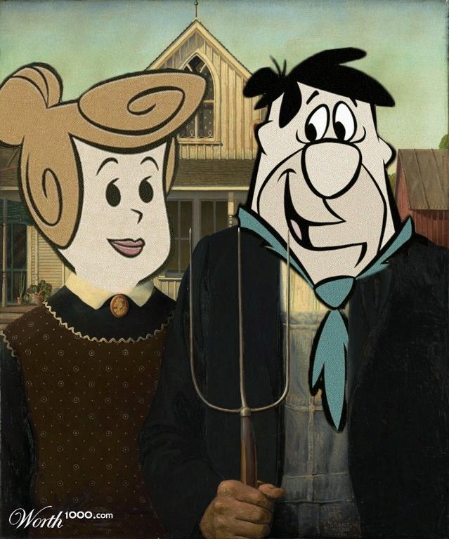 Bedrockian Gothic American Gothic Painting American Gothic Grant Wood American Gothic