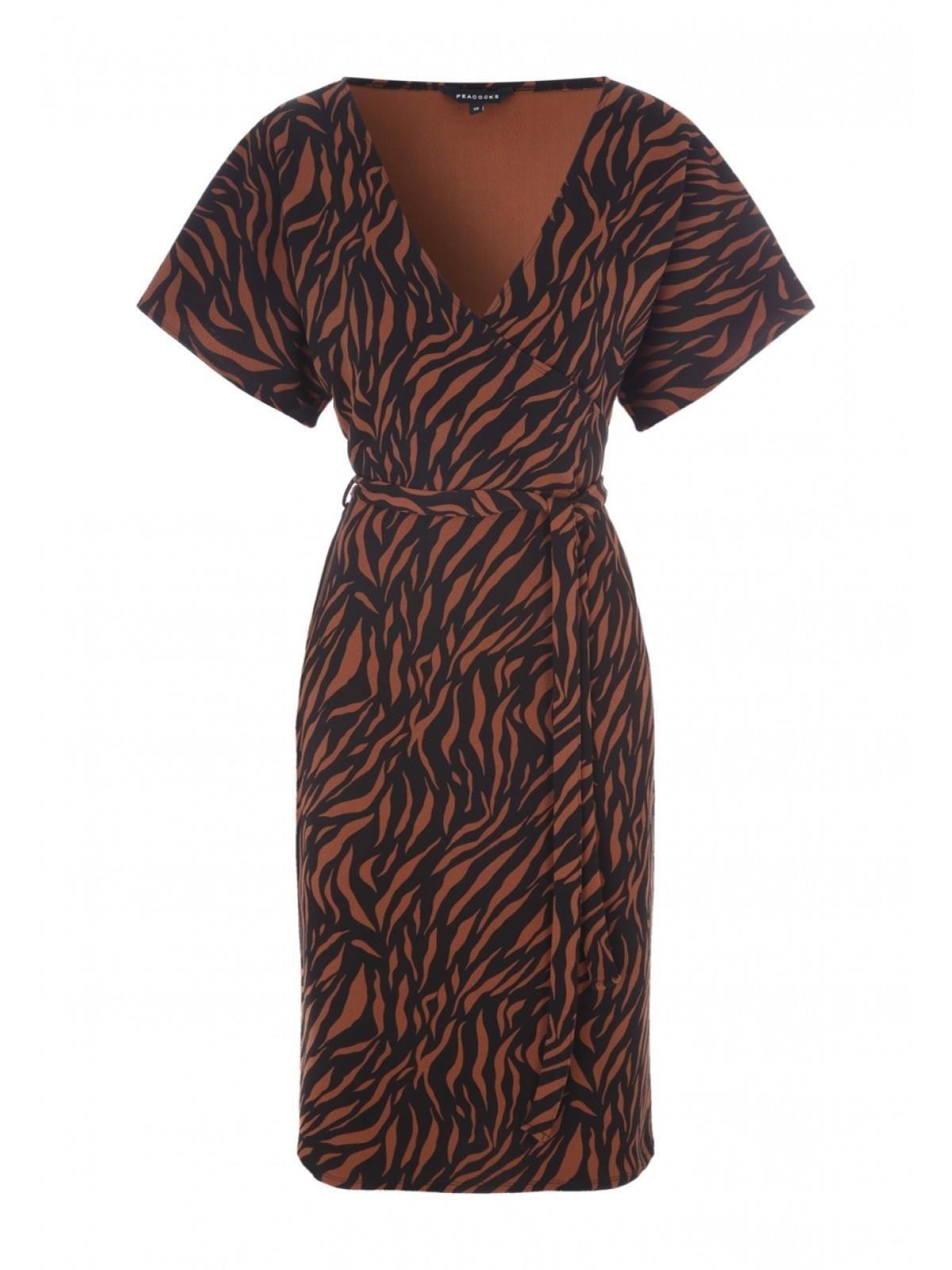 Womens Tan Zebra Print Wrap Dress Peacocks Zebra Print Wrap Dress Wrap Dress Dresses [ 1600 x 1200 Pixel ]